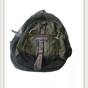 JanSport Green/Black Backpack Clip Hiking Bag